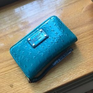 Marc by Marc Jacobs teal wristlet wallet.